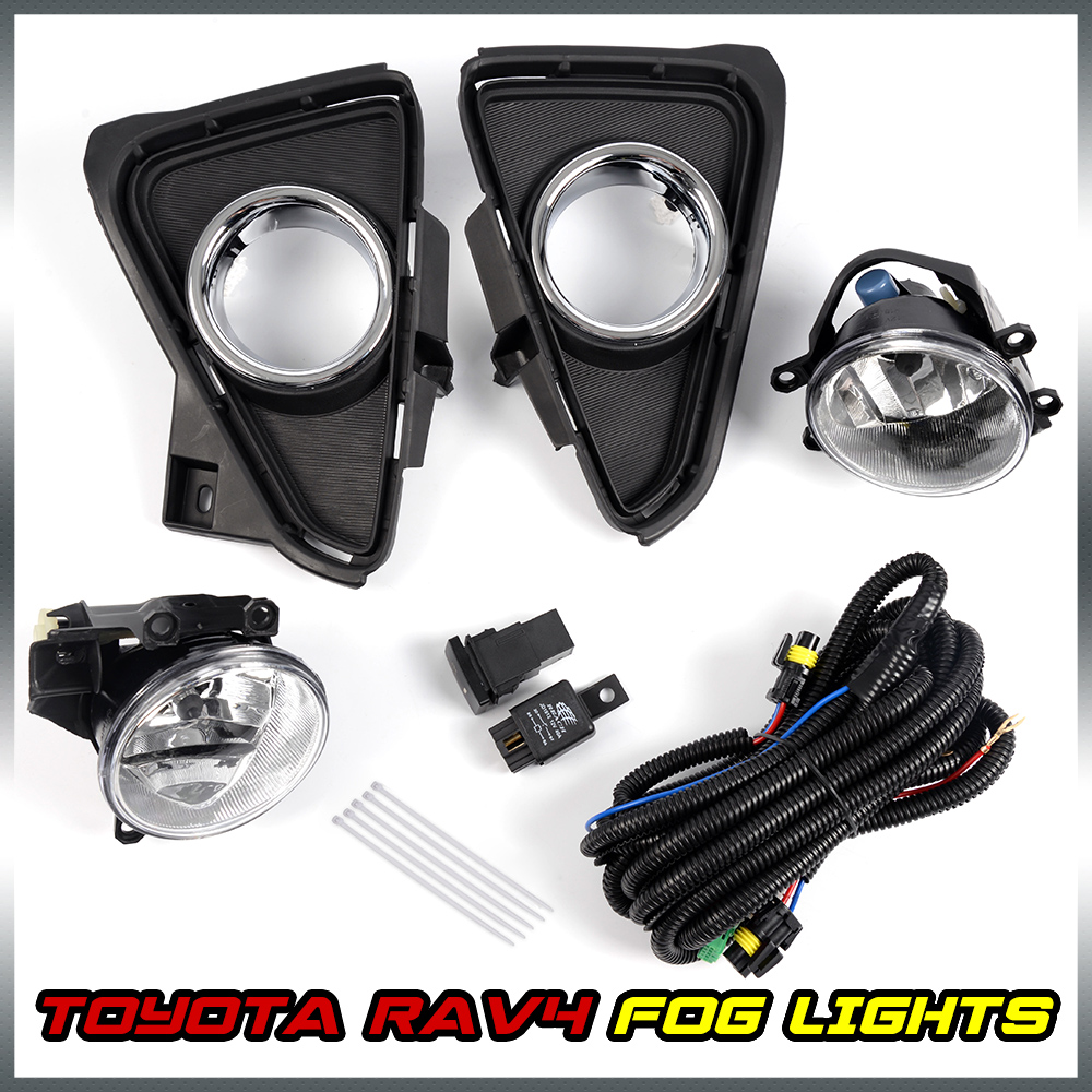 Pair Chrome Trim Black Bezel Fog Lights W Switch Kit For